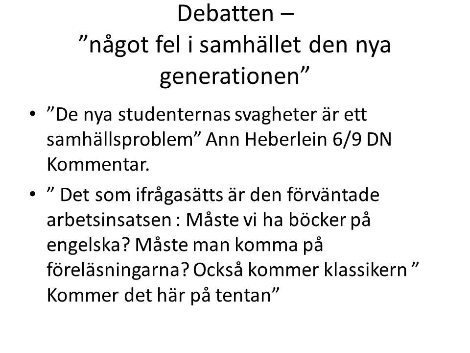 Debatten – något fel i samhället den nya generationen