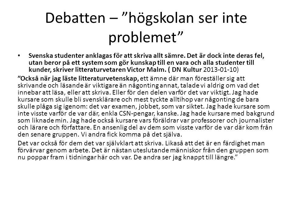 Debatten – högskolan ser inte problemet