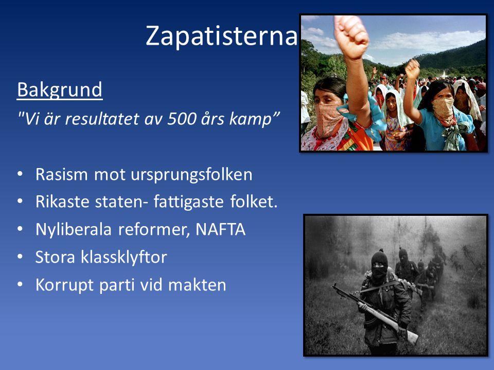 Zapatisterna Bakgrund Vi är resultatet av 500 års kamp