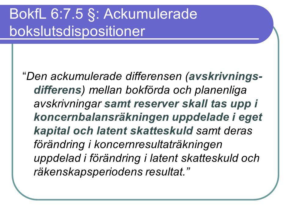 BokfL 6:7.5 §: Ackumulerade bokslutsdispositioner