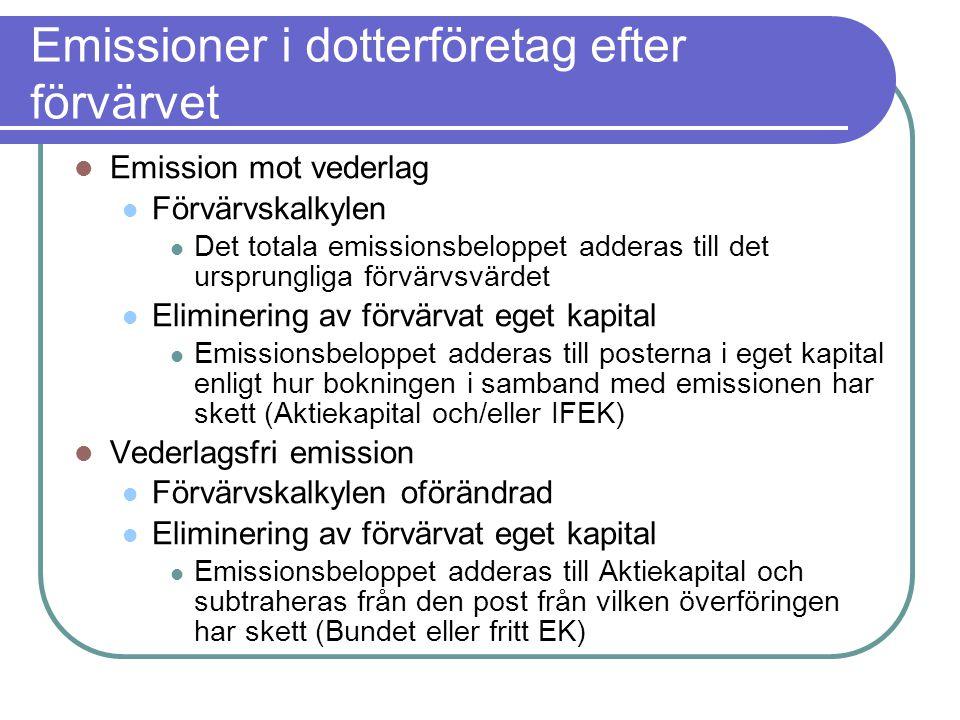 Emissioner i dotterföretag efter förvärvet