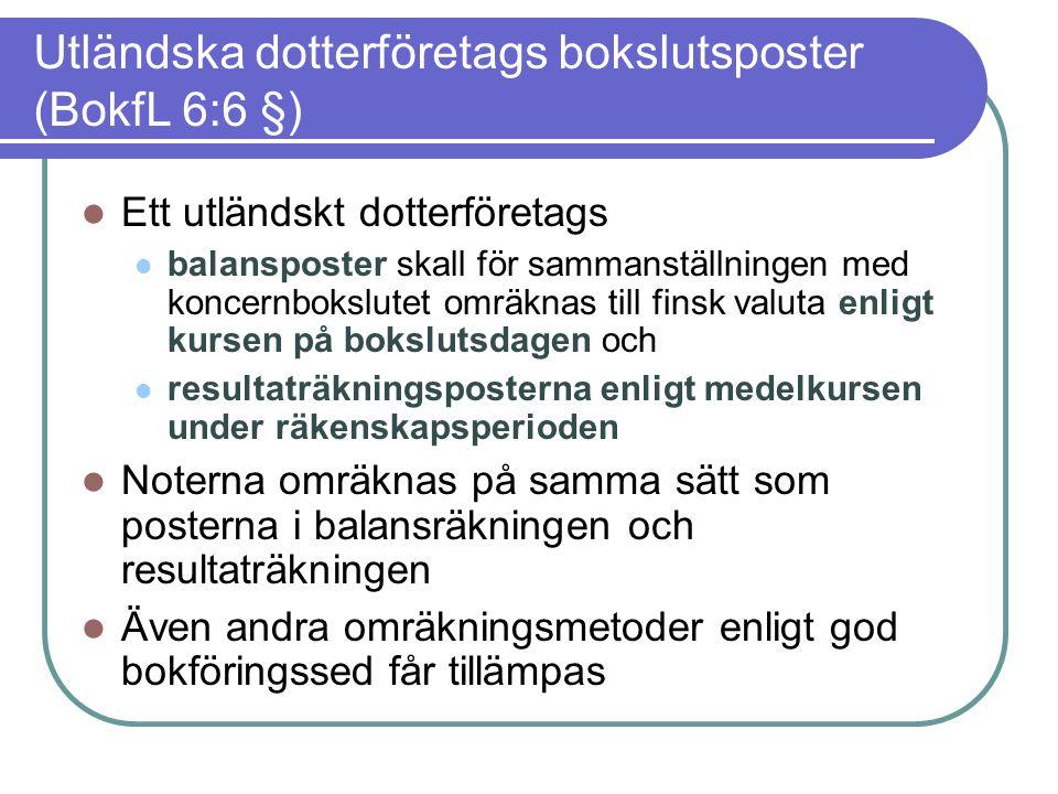 Utländska dotterföretags bokslutsposter (BokfL 6:6 §)