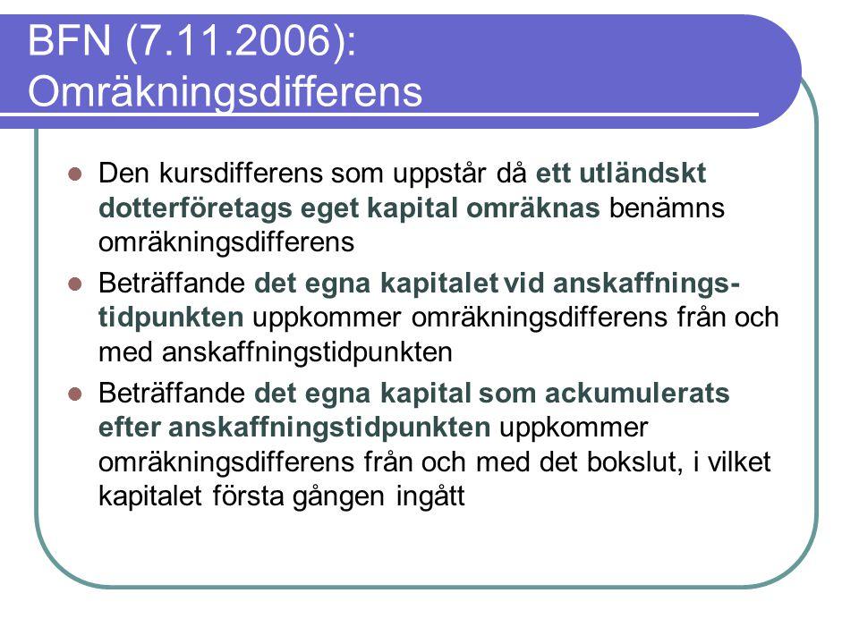 BFN (7.11.2006): Omräkningsdifferens