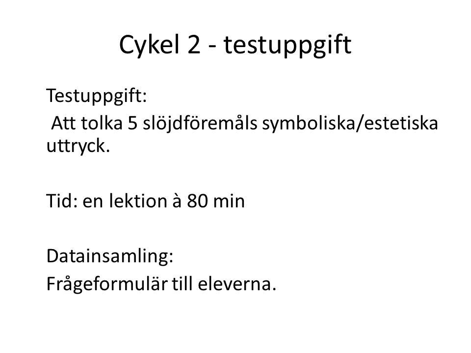 Cykel 2 - testuppgift Testuppgift: