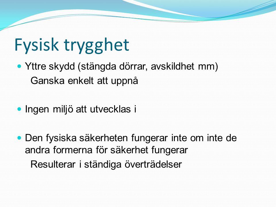 Fysisk trygghet Yttre skydd (stängda dörrar, avskildhet mm)