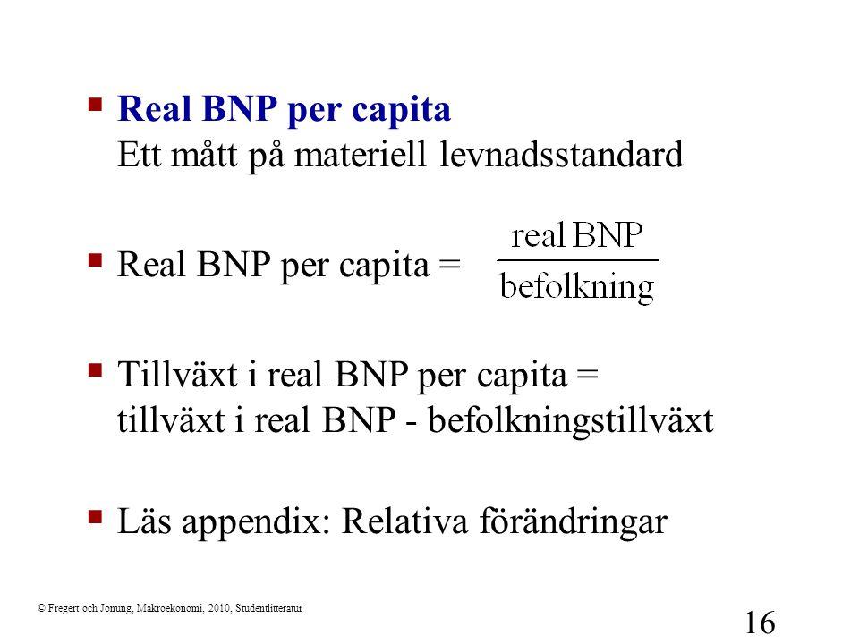Real BNP per capita Ett mått på materiell levnadsstandard