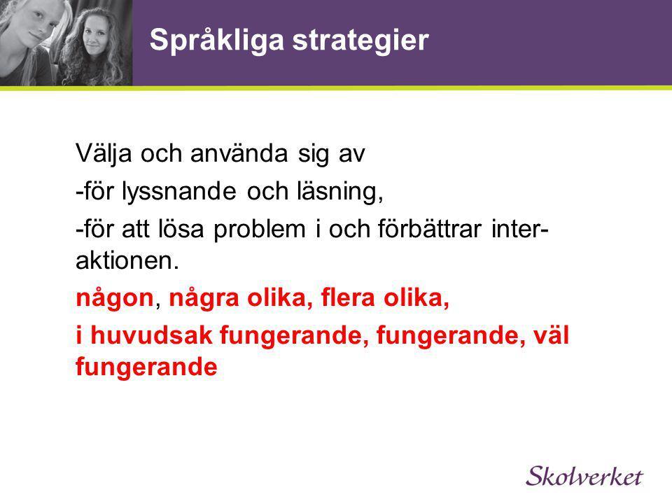 Språkliga strategier Välja och använda sig av