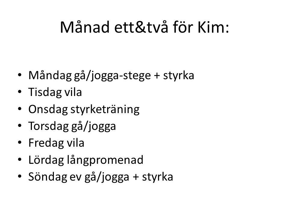 Månad ett&två för Kim: Måndag gå/jogga-stege + styrka Tisdag vila