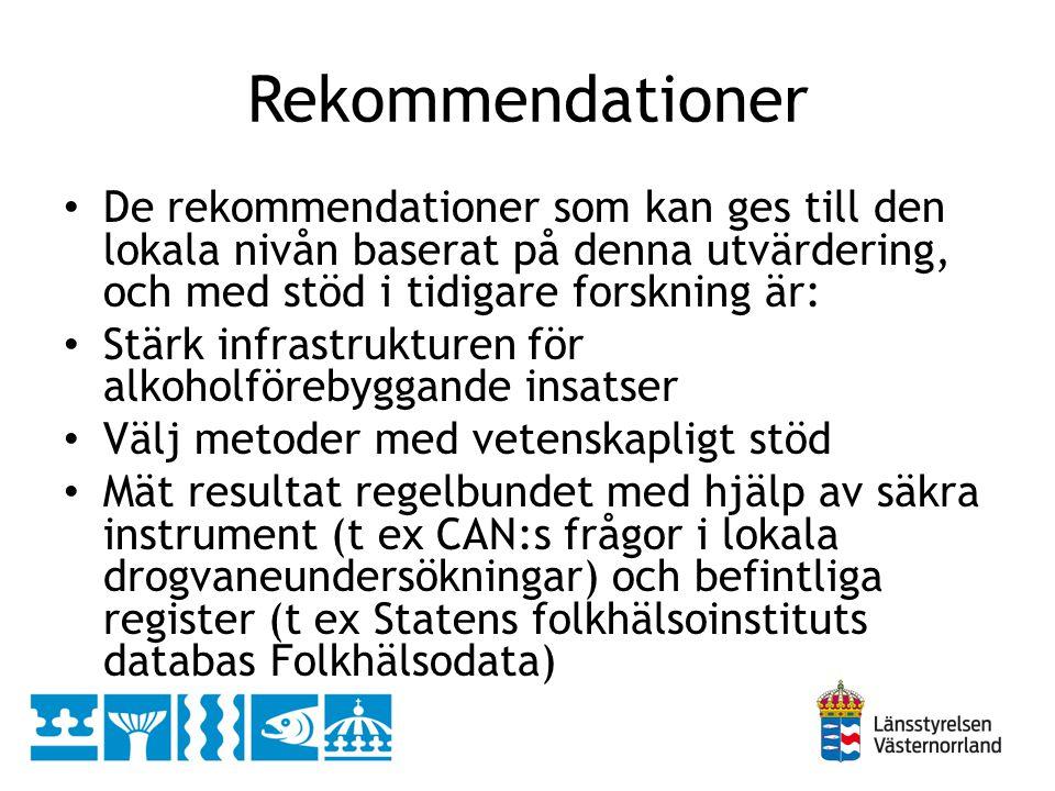 Rekommendationer De rekommendationer som kan ges till den lokala nivån baserat på denna utvärdering, och med stöd i tidigare forskning är: