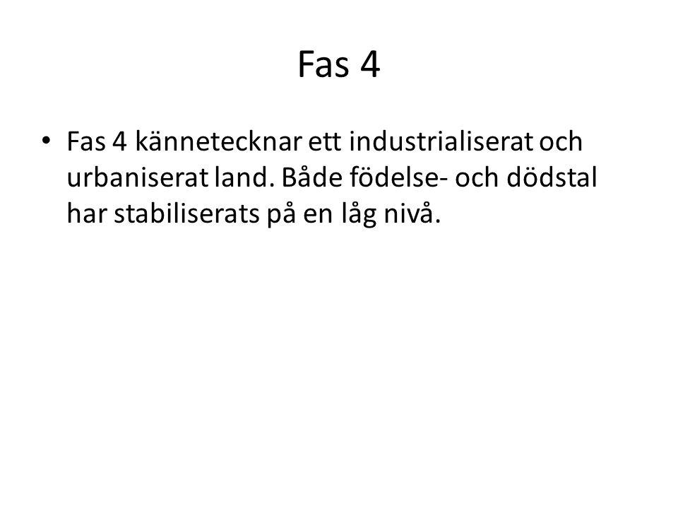 Fas 4 Fas 4 kännetecknar ett industrialiserat och urbaniserat land.