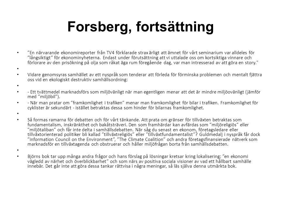 Forsberg, fortsättning