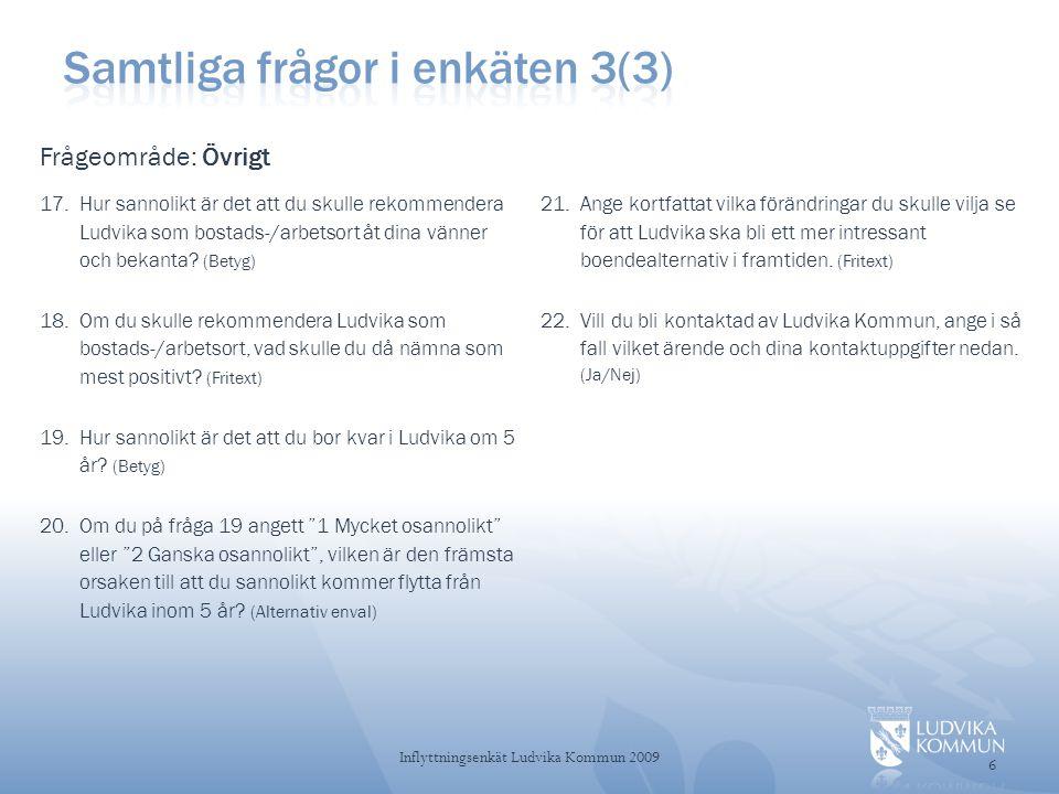 Samtliga frågor i enkäten 3(3)