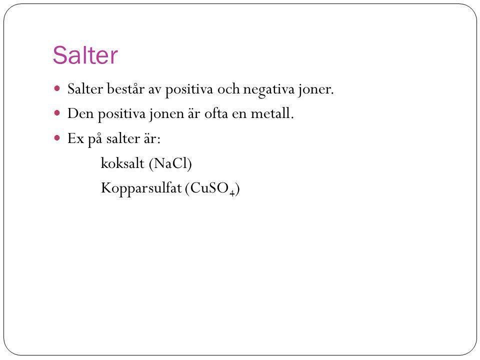 Salter Salter består av positiva och negativa joner.