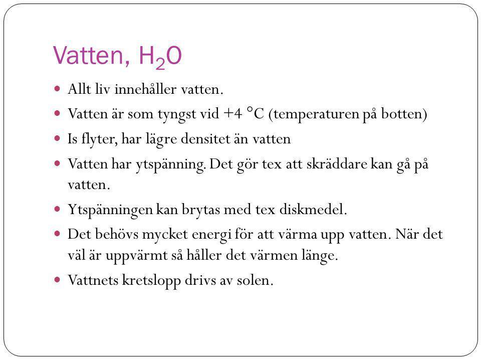 Vatten, H2O Allt liv innehåller vatten.