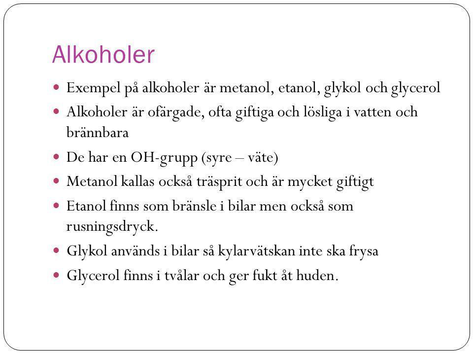 Alkoholer Exempel på alkoholer är metanol, etanol, glykol och glycerol