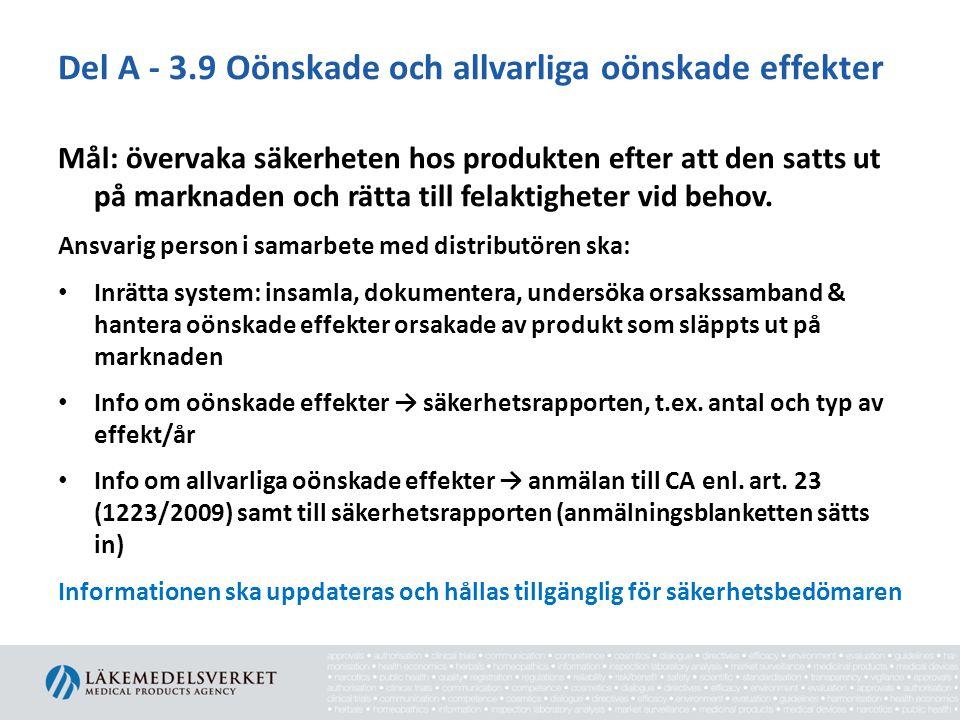 Del A - 3.9 Oönskade och allvarliga oönskade effekter