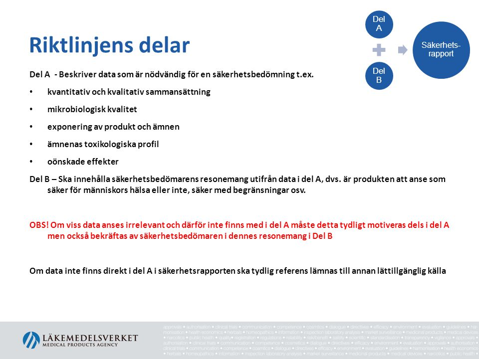 Del A Del B. Säkerhets-rapport. Riktlinjens delar. Del A - Beskriver data som är nödvändig för en säkerhetsbedömning t.ex.