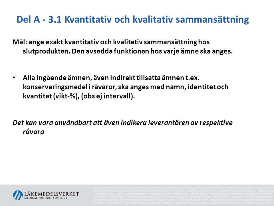 Del A - 3.1 Kvantitativ och kvalitativ sammansättning