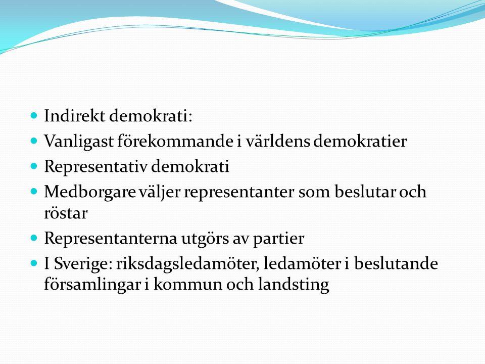 Indirekt demokrati: Vanligast förekommande i världens demokratier. Representativ demokrati.