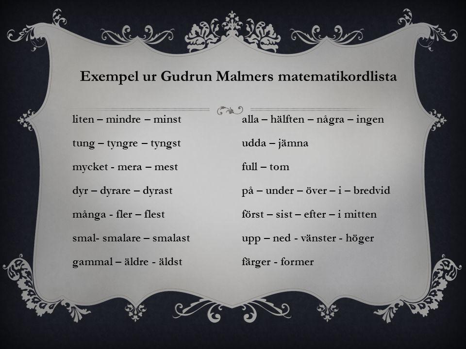 Exempel ur Gudrun Malmers matematikordlista