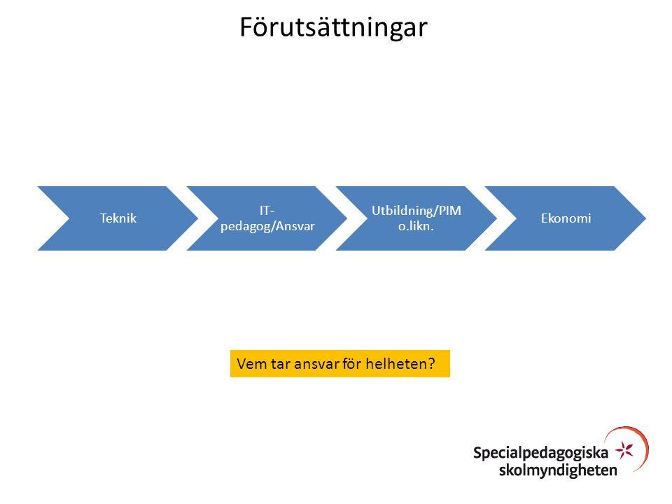 Förutsättningar Vem tar ansvar för helheten Teknik IT-pedagog/Ansvar