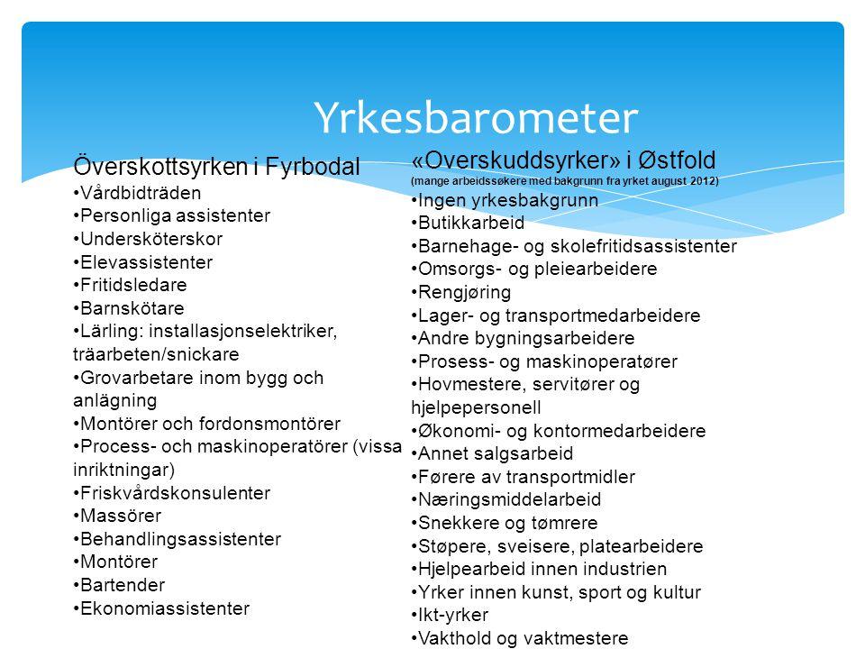 Yrkesbarometer «Overskuddsyrker» i Østfold Överskottsyrken i Fyrbodal