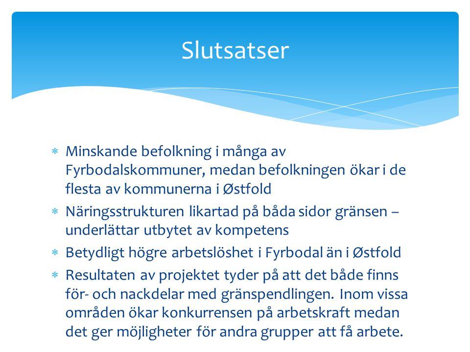 Slutsatser Minskande befolkning i många av Fyrbodalskommuner, medan befolkningen ökar i de flesta av kommunerna i Østfold.