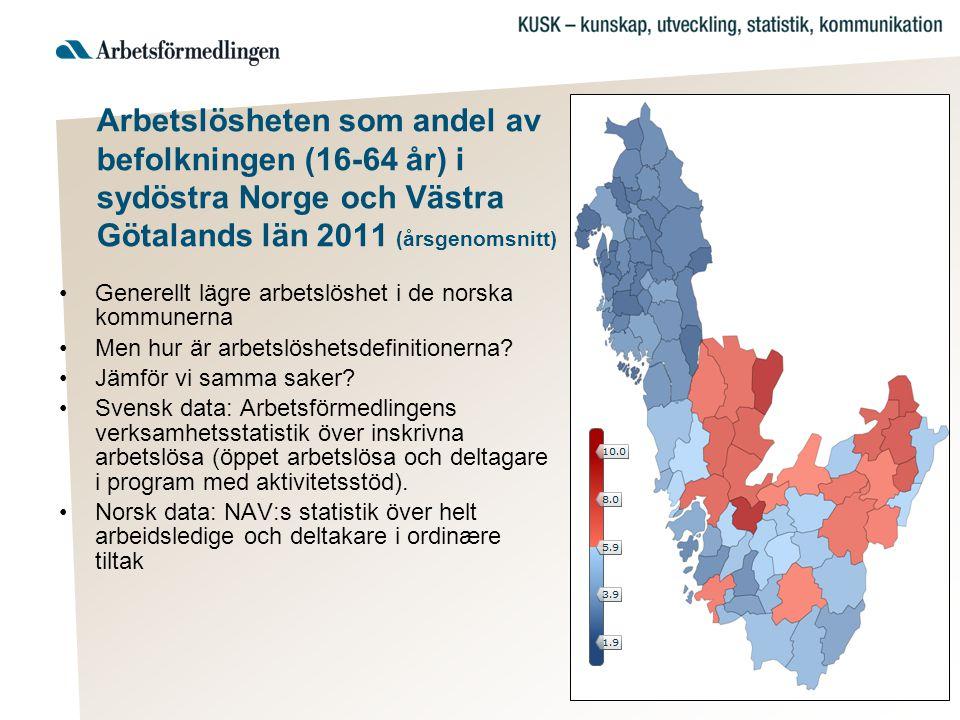 Arbetslösheten som andel av befolkningen (16-64 år) i sydöstra Norge och Västra Götalands län 2011 (årsgenomsnitt)