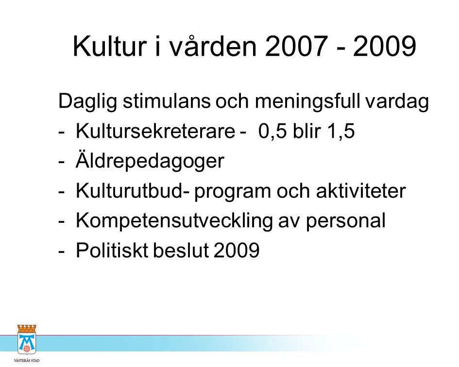 Kultur i vården 2007 - 2009 Daglig stimulans och meningsfull vardag