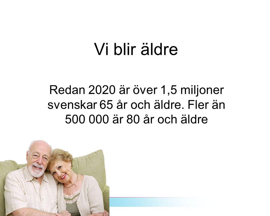 Vi blir äldre Redan 2020 är över 1,5 miljoner svenskar 65 år och äldre.