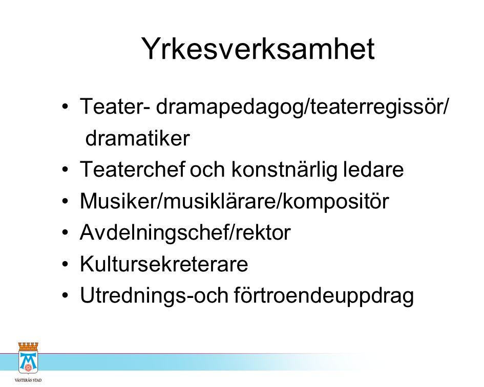 Yrkesverksamhet Teater- dramapedagog/teaterregissör/ dramatiker