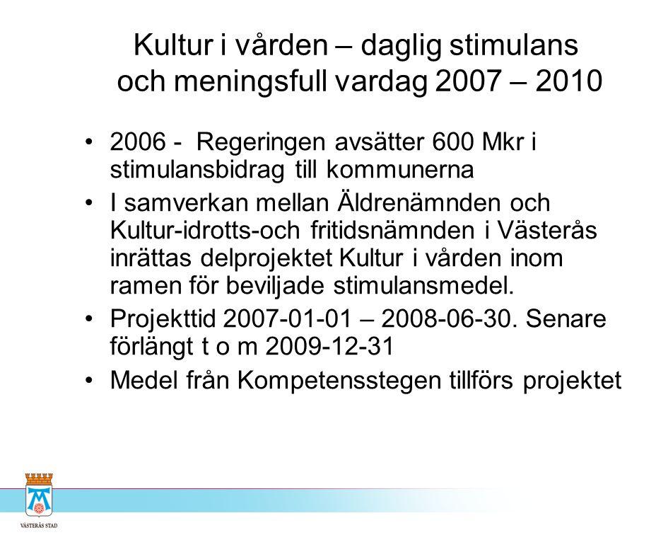 Kultur i vården – daglig stimulans och meningsfull vardag 2007 – 2010