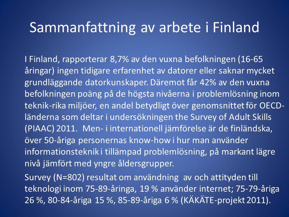 Sammanfattning av arbete i Finland