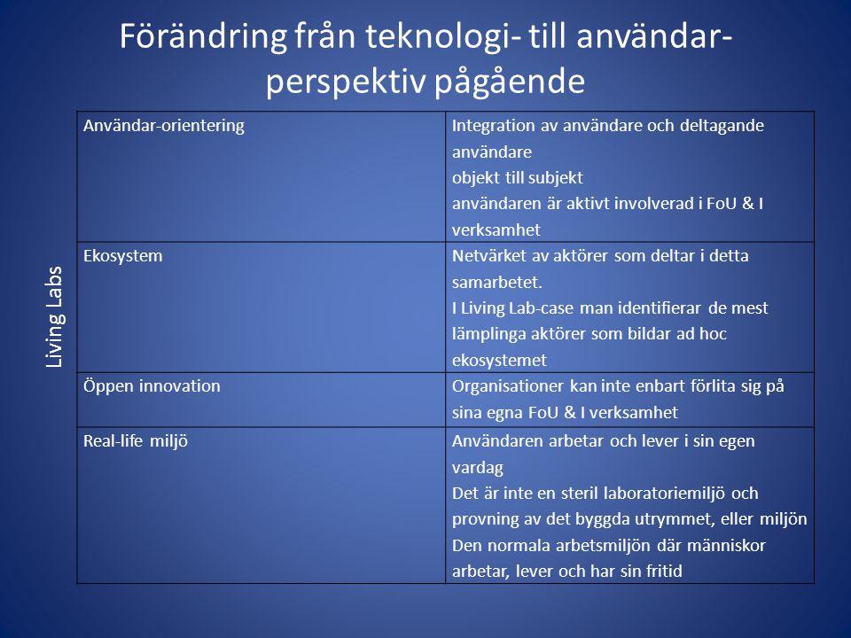 Förändring från teknologi- till användar- perspektiv pågående
