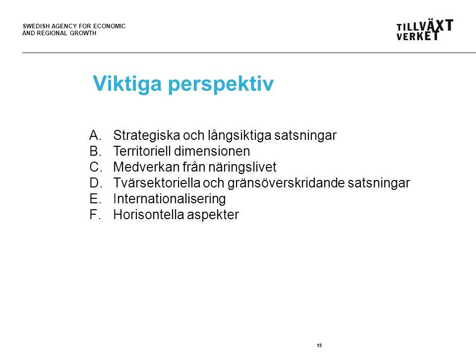 Viktiga perspektiv Strategiska och långsiktiga satsningar