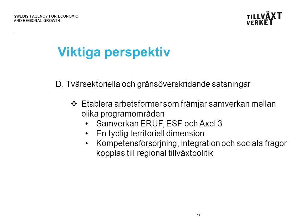 Viktiga perspektiv D. Tvärsektoriella och gränsöverskridande satsningar. Etablera arbetsformer som främjar samverkan mellan olika programområden.