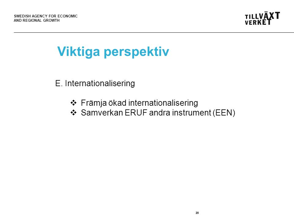 Viktiga perspektiv E. Internationalisering