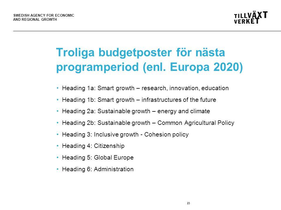 Troliga budgetposter för nästa programperiod (enl. Europa 2020)