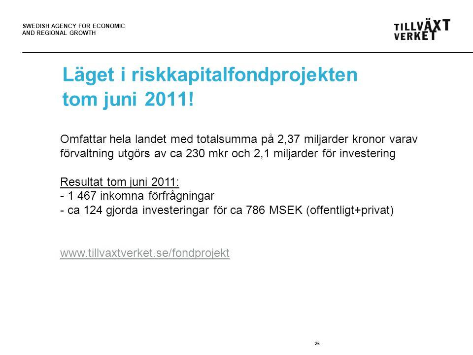 Läget i riskkapitalfondprojekten tom juni 2011!