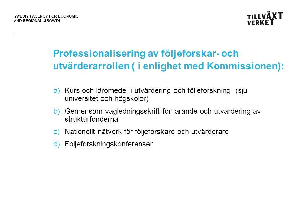 Professionalisering av följeforskar- och utvärderarrollen ( i enlighet med Kommissionen):