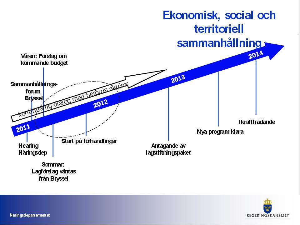 Betona vikten av att både regional och nationell nivå är aktiva tidigt i processen dvs under hösten 2011 och våren 2012 med att ta fram underlag som kan ha betydelse för regeringens förhandling med Kommissionen.