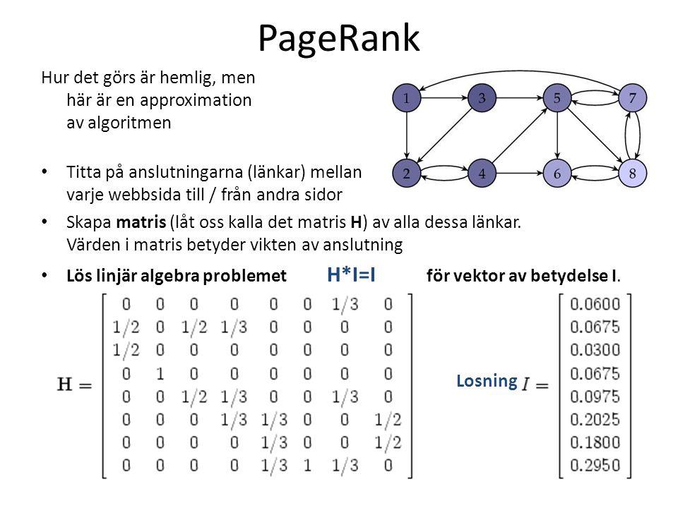 PageRank Hur det görs är hemlig, men här är en approximation av algoritmen.