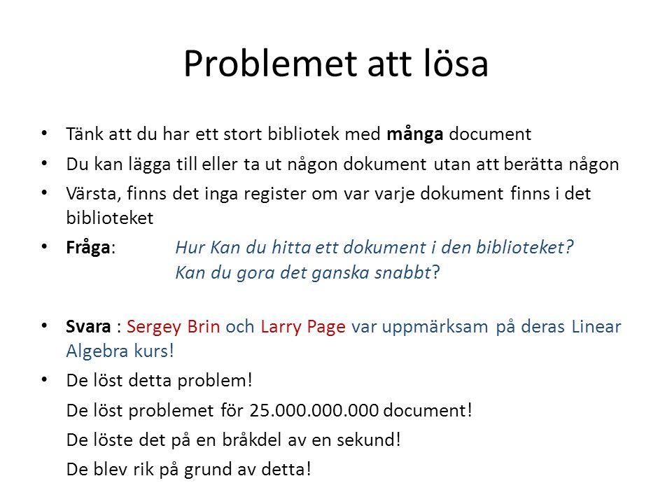 Problemet att lösa Tänk att du har ett stort bibliotek med många document. Du kan lägga till eller ta ut någon dokument utan att berätta någon.