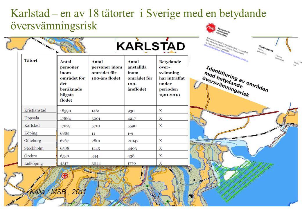 Karlstad – en av 18 tätorter i Sverige med en betydande översvämningsrisk