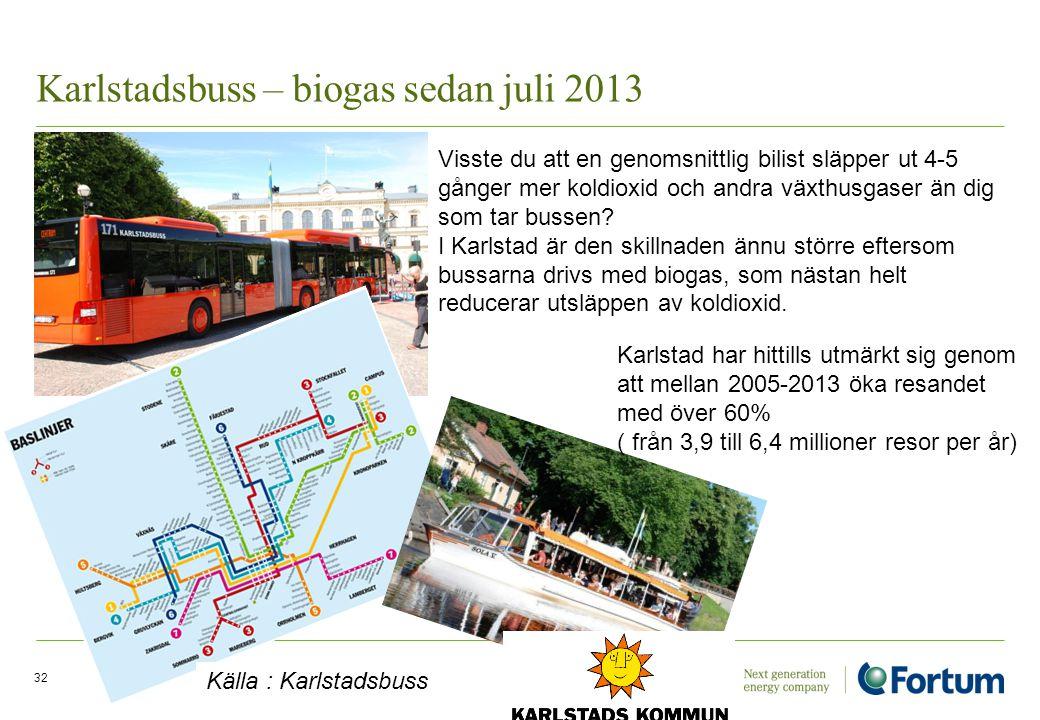 Karlstadsbuss – biogas sedan juli 2013