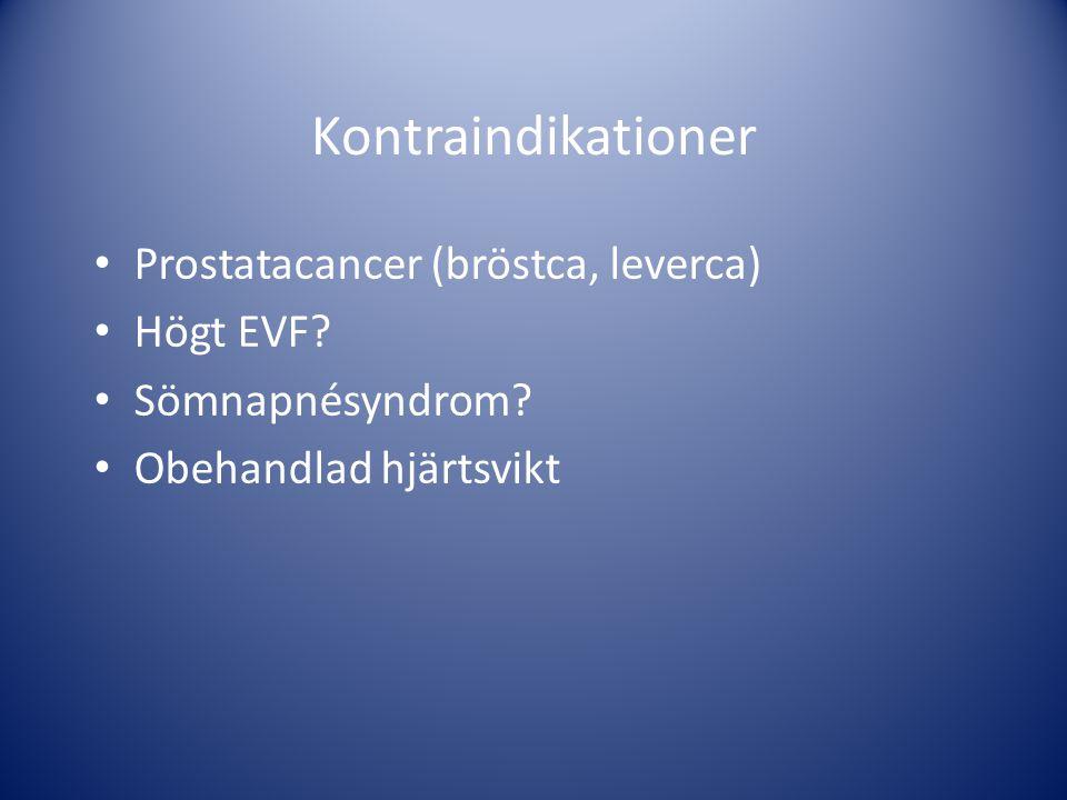 Kontraindikationer Prostatacancer (bröstca, leverca) Högt EVF