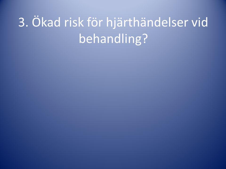 3. Ökad risk för hjärthändelser vid behandling