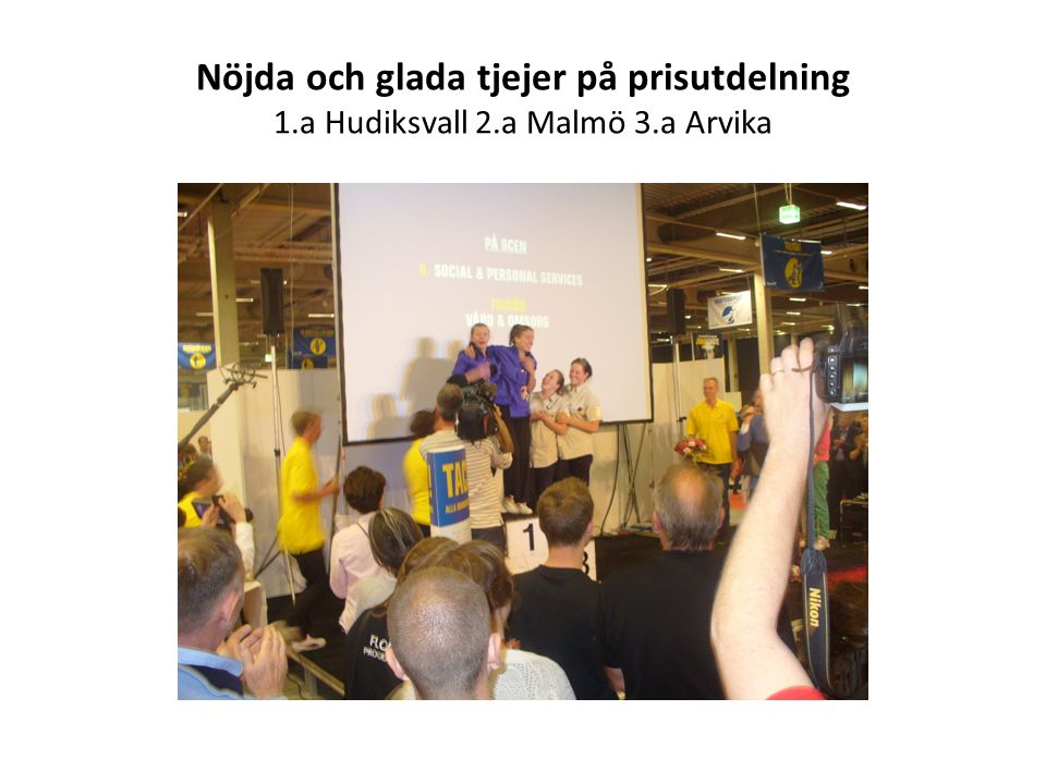 Nöjda och glada tjejer på prisutdelning 1. a Hudiksvall 2. a Malmö 3