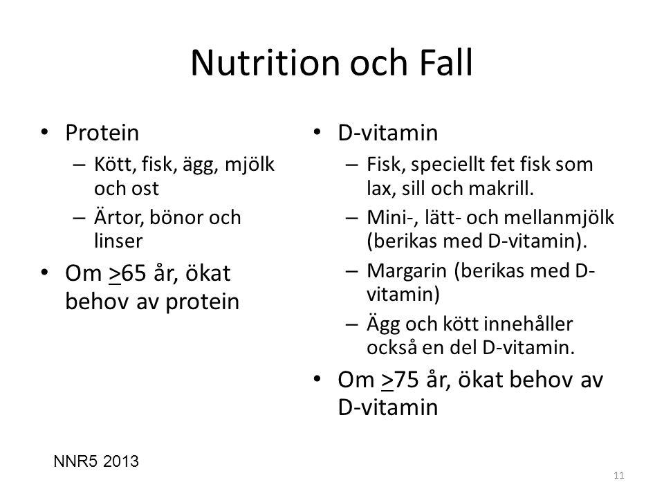 Nutrition och Fall Protein Om >65 år, ökat behov av protein