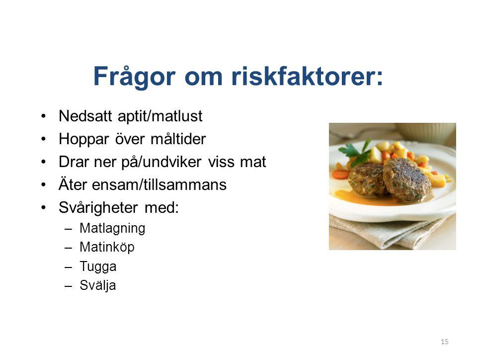 Frågor om riskfaktorer: